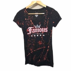 Famous Vodka Tee Upcycled V-neck Graphic T-shirt